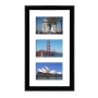 Cadre bois multivues laqué noir 2,5cm 3 photos 15x10 ou 10x15