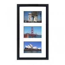 Cadre en bois arrondi noir 2 cm multivues 3 photos 15x10 ou 10x15
