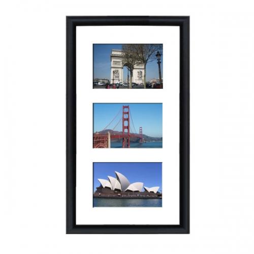 cadre en bois multivues arrondi noir 2 cm 3 photos 15 x 10 ou 10 x 15. Black Bedroom Furniture Sets. Home Design Ideas