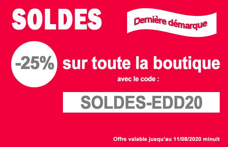 25% de remise pour la dernière démarque des soldes avec le code SOLDES-EDD20